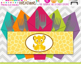 NP-640: King Of The Jungle Napkin Rings - Instant Downloadable File