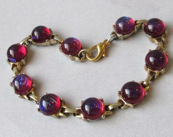 Vintage 1960's Dragon's Breath Glass Cabochon Gold Filled Bracelet