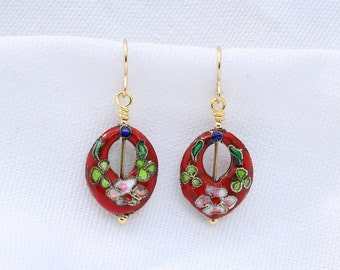 Red Cloisonne Earrings