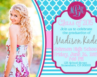 Cute Graduation Invitation with Picture *Any Color Scheme* *Any Background*