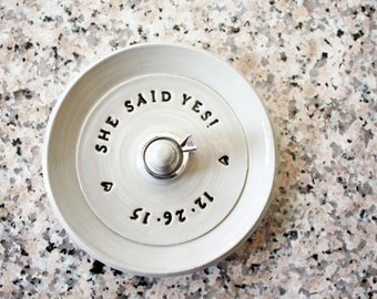 She said yes! Engagement Ring Holder, Personalized Ring Dish, Wheel Thrown, Clay Pottery, Made to Order, Two Week Production Time
