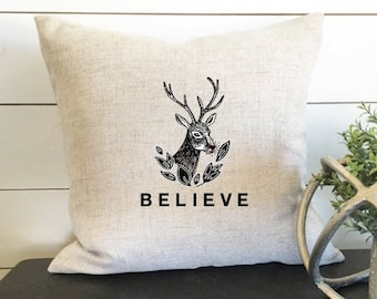 Believe Christmas Pillow Cover, Holiday Pillow, Holiday Decor, Reindeer Pillow Cover, Reindeer, Christmas Gift