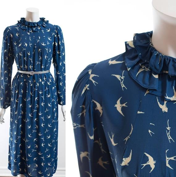 Dress Blue Dress Canada 50's Century Originals Print for Bird Collar Easie with Eliza Sim Adorable Ruffled Mid 0qwx1Sdw