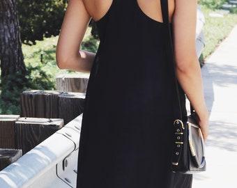 Chiffon basic slip mini dress / minimalist