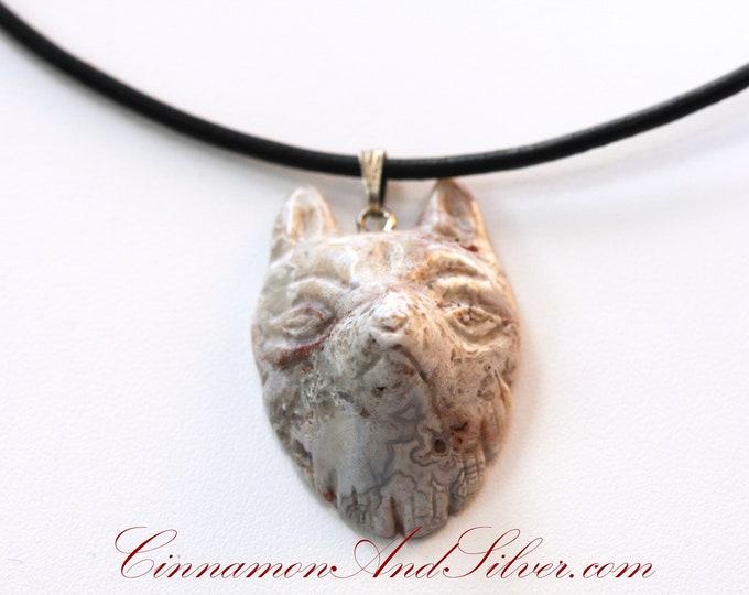 Gray Jasper Wolf Gemstone Leather Necklace, Grey Wolf Gemstone Necklace, Simple Gray Wolf Stone Necklace, Coyote Stone Necklace