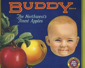 Buddy Apples Vintage Crate Label, 1930's