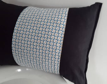 Cushion cover 45 x 30 cm black and blue