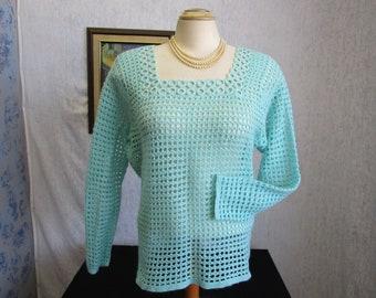 60s L Hand Crocheted Acrylic Pullover Sweater Aqua