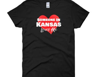Someone in Kansas KS Loves Me Women's T-Shirt Long Distance Relationship Gift for Out of State Girlfriend