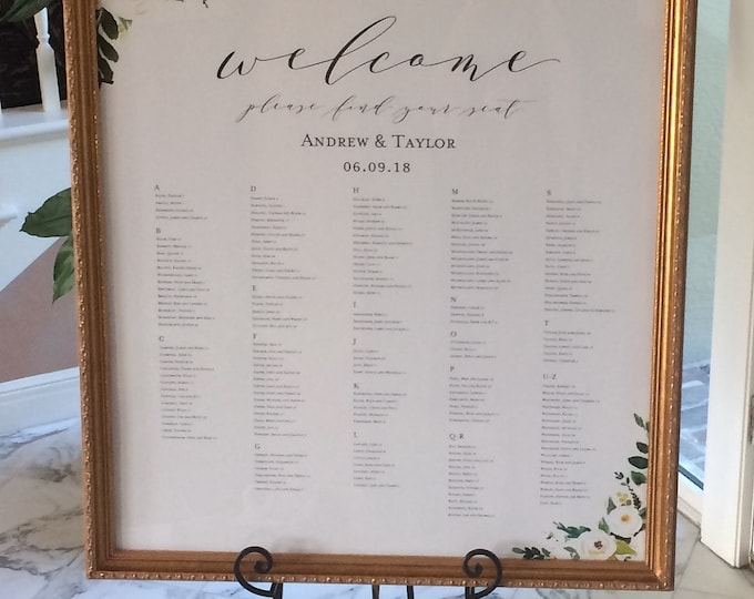 Seating Chart (Alphabetical) for Weddings - Elegant Wedding Signage - Table/Wall Art - 18x24/24x36 Editable PDF - Digital Download Printable