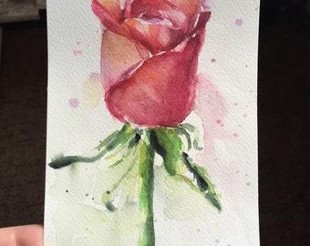 Rose Watercolor Painting, Original, Flower, Floral Art, 5x7