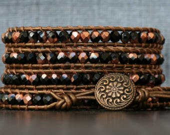 READY TO SHIP wrap bracelet- rose gold and black crystal on bronze leather- beaded leather