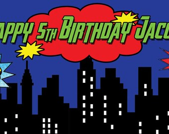 """18""""x36"""" Personalized Superhero Cityscapes Birthday Party Banner"""