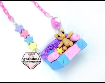 Teddy Bear Couch Necklace, Pastel, Fairy Kei, Kawaii, Cute Bear, Bear Necklace, Pastel Necklace, Dollhouse, Yume Kawaii