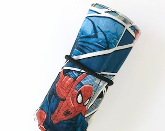 Spiderman Crayon Roll - Blue