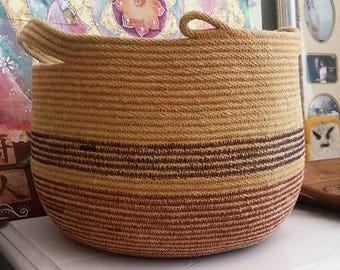 Natural Turmeric Dyed Coiled Rope Basket Vessel Home Decor Organizing Toy Storage Solutions Yarn Wool Tote OOAK OOAK