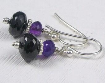 Black Garnet and Deep Purple Amethyst Sterling Silver Petite Earrings