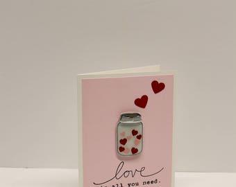 Mason jar hearts Valentine's Day handmade card