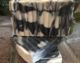 Tea tree activated charcoal soap, acne soap, psoriasis soap, 4.0 oz bar