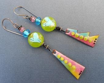 Boho earrings,Multicolour earrings,Contemporary earrings,Long earrings,Lampwork earrings,OOAK earrings,Ombre earrings,Heart earrings