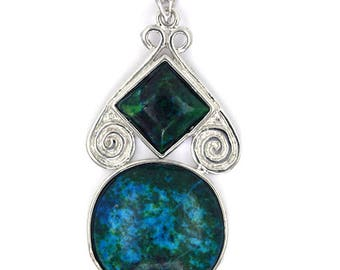 45mm blue green azurite silver plated diamond coin pendant bead 35386