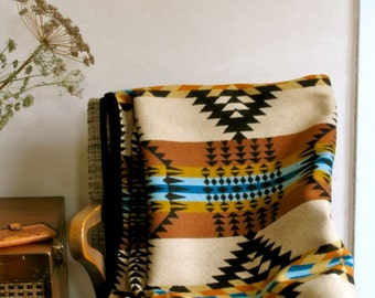 Wool Blanket in Gold Black Turquoise Rancho Arroyo Native Inspired Design