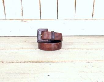 Vintage wide reptile print dark brown Liz Claiborne leather belt/ wide leather boho belt/crocodile/alligator print belt