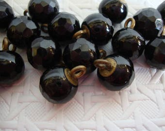 22 x Victorian (Nineteenth Century) Faceted black glass ball buttons or beads