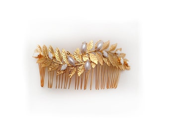 Leonora Bridal Hair Comb, Pearls, Grecian Leaves, Gold Plated, Bridal Hair Accessoried, Wedding Comb, Goddess Hair Accessories