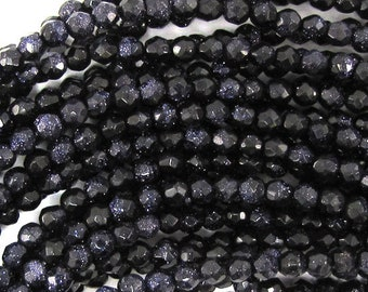 """4mm faceted blue goldstone round beads 14.5"""" strand 32023"""