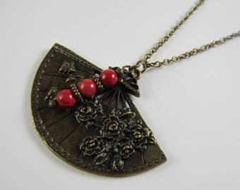 Red Coral Pendant Necklace Fan Necklace Antique Brass