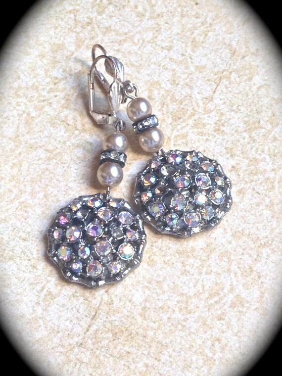 Vintage AB Rhinestone Button Earrings- Dangle Earring