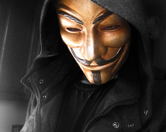 Guy Fawkes V for Vendetta Anonymous Custom hand Painted Rusted Metal Mask Occupy Protest