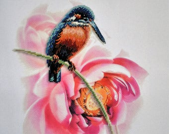 Bird & Flower Counted Cross Stitch - FINISHED