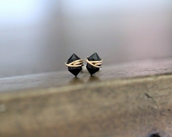 Black Studs , Petite Ebony Agate Gemstone Post Earrings in Gold , Rose Gold , Sterling Silver , Geometric Natural Stone - Pike