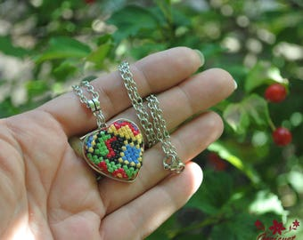 Heart necklace pendant ethnic jewelry for women romantic necklace for wife summer jewelry hand embroidered necklace for girl heart jewelry