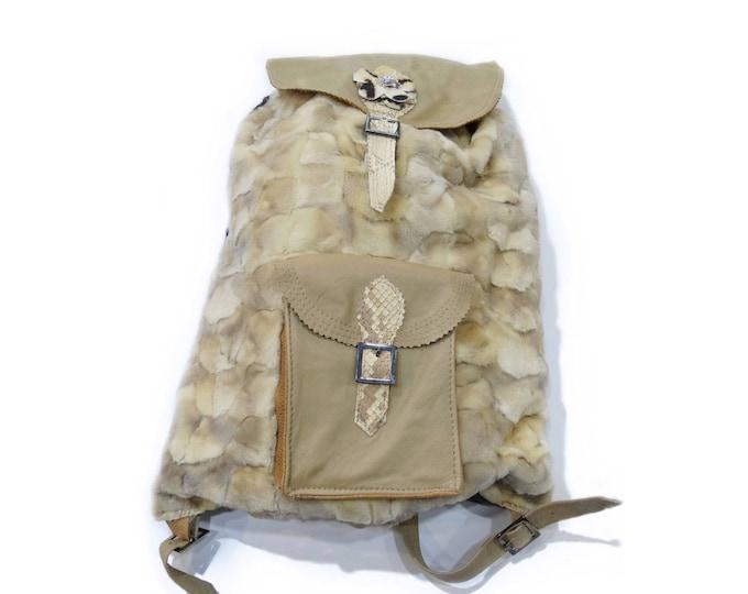 Beige fur bagpack, Modern teenager gift F207