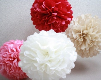 25 Tissue Paper Pom Poms - Your Color Choice- SALE