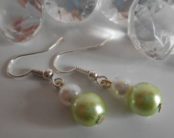 Duo of lime green and white pearls wedding earrings
