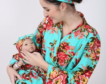 Labor and delivery, maternity robe, floral maternity set, nursing robe set, feeding robe, delivery robe, pregnancy robe, mom and me robes