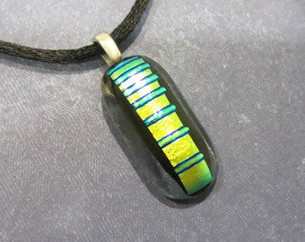 Small Yellow Necklace, Green and Gold Pendant, Cord Included, Dichroic Fused Glass Jewelry - Stairway- -6