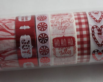 Christmas Washi Tape Tube Set of 8 Recollections Red Pink Foil Snowflakes Candy Canes Marble Ho Ho Ho Joy Plaid Hearts Dots Holiday Season