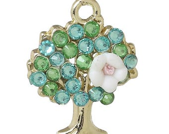 x 1 pendant 21 mm tree of life charm gold tone and green rhinestones.