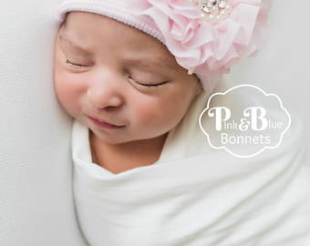 Newborn Hospital hat with bow for baby girls newborn hat with pink flower for baby girl baby hat with bow newborn girl infant hospital hat