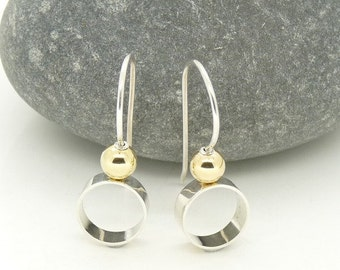 Sterling Silver 'Orbit' Earrings with 18ct Gold detail