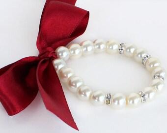 Burgundy flower girl jewelry, flower girl bracelet, junior bridesmaid bracelet, burgundy satin ribbon, little girl bracelet