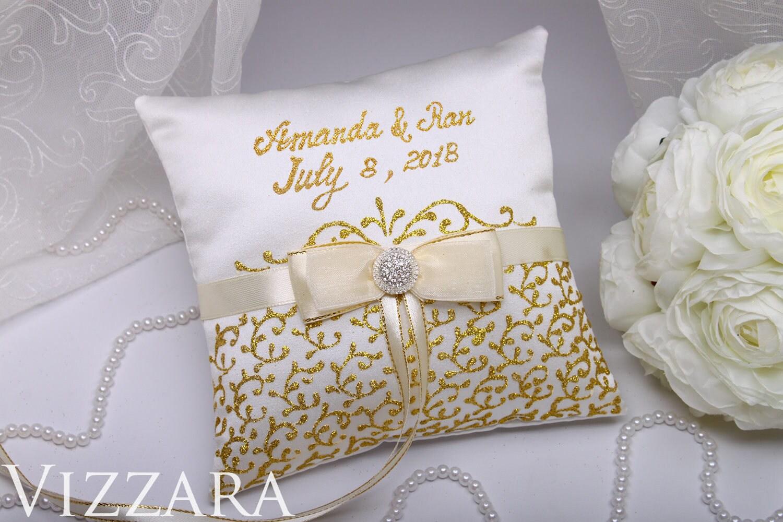 Ring Inhaberaktien Kissen von handbemalt Gold Ehering Kissen