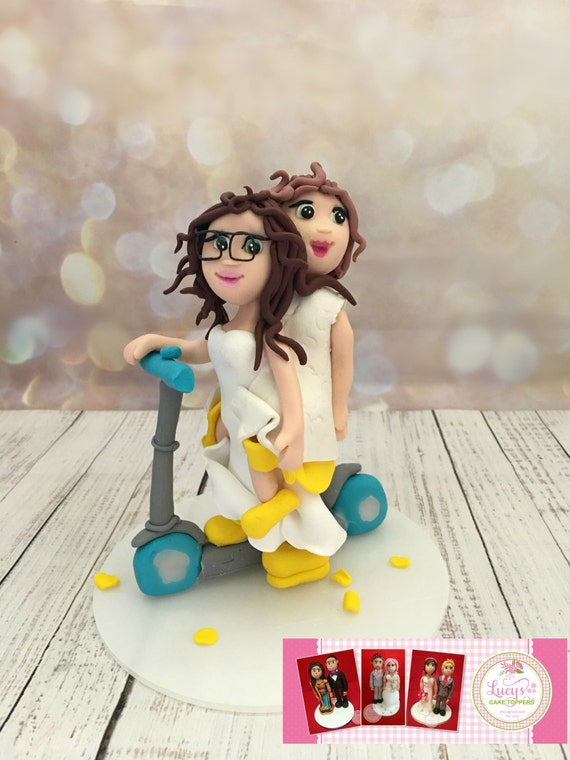 Wedding cake Topper with Scooter - Fully Personalised a lovely keepsake