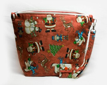 """Knitting Project Bag - Large Zipper Knitting Project Bag """"Christmas Cheer"""" (Wedge Style):  with detachable handle! (10"""" x 13"""" x 5"""" base) (V)"""