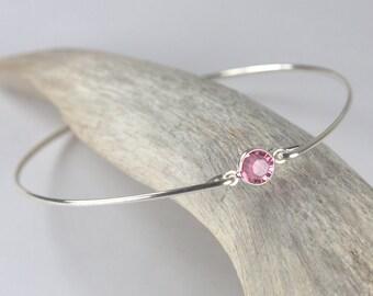 October Birthstone Swarovski Rose Pink Sterling Silver Bangle Bracelet, Sterling Silver Bracelet, Rose Pink Bangle Bracelet [#763]